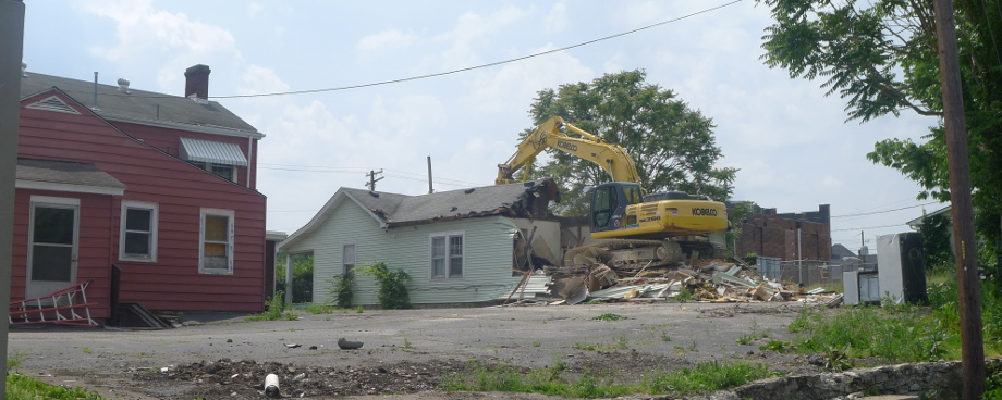 Demolition begins at 717 High Street